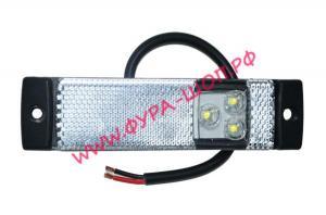 Габарит, маркерный, без, кронштейна, белый, LED, 24, V, аналог, 551443, даф, фонарь, светодиодный, прицеп
