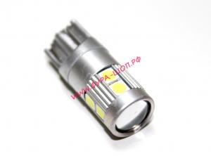 Лампочка, светодиодная, безцокольная, малая, 9, smd, 360, градус, алюминевый, корпус, 12-24V, LED, T10p-SAL309, CANBUS